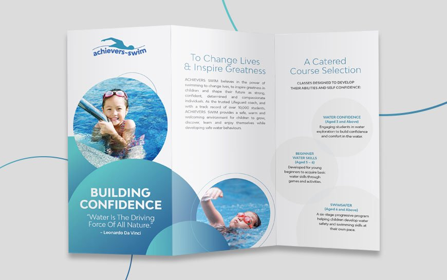 Achievers Swim Brochure Design